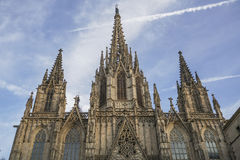 Holy Cross Cathedral in Gothic Quarter of Barcelona in Spain. Stock Photo