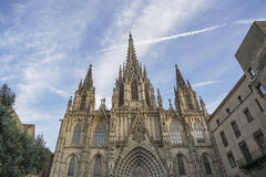 Holy Cross Cathedral in Gothic Quarter of Barcelona in Spain. Stock Photos