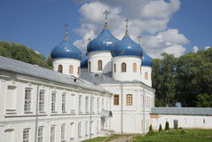 Holy cross Cathedral in the St. Yuriev monastery. Veliky Novgorod Royalty Free Stock Photos