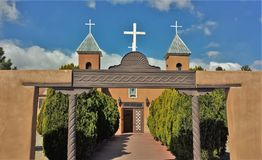 Holy Cross Catholic Church in New Mexico. Belonging to the Diocese of Santa Fe, La Iglesia de Santa Cruz de la Canada Holy Cross Catholic Church is located in royalty free stock images