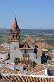 Holy Cross Chuch, Teba, Andalusia, Spain. Holy Cross Church (Santisima Cruz) and surrounding countryside, Teba, Malaga Province, Andalusia, Spain, Western Stock Photography