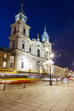 Holy Cross Church at night in Warsaw Royalty Free Stock Image