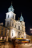 Holy Cross Church at night in Warsaw Stock Image