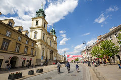 Holy Cross Church in Warsaw city Stock Photo