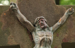 Holy cross with crucified Jesus Christ. (details Royalty Free Stock Image