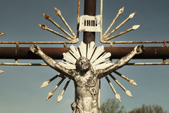 Holy cross with crucified Jesus Christ  details. Holy cross with crucified Jesus Christ Stock Photo