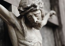 Crucified Jesus Christ. Holy cross with crucified Jesus Christ  details Stock Photo