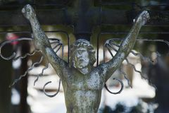 Holy cross with crucified Jesus Christ. Details Royalty Free Stock Image
