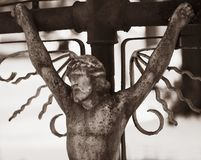 Holy cross with crucified Jesus Christ. Details Stock Photo