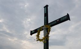 Holy cross. Detailed view of a crucifix Royalty Free Stock Photo