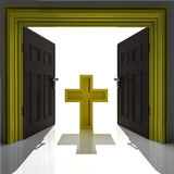 Holy cross in golden framed doorway Royalty Free Stock Image