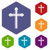 Holy cross icons set hexagon Stock Photography