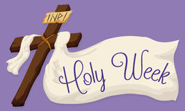 Holy Cross with a Large Fabric with Holy Week Text, Vector Illustration Royalty Free Stock Photography