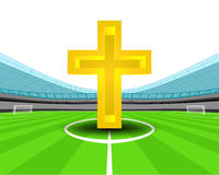 Holy cross in the midfield of football stadium vector Royalty Free Stock Photo