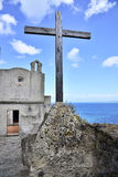 Holy cross and monastery Royalty Free Stock Photo