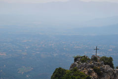 Holy cross and mountains Royalty Free Stock Photos