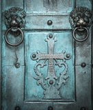 Holy Cross, old, door, Amalfi Cathedral, Italy. Stock Photos