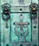 Holy Cross, old, door, Amalfi Cathedral Stock Photos