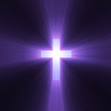 Holy cross purple light flare. Isolated spiritual cross with powerful purple light halo. Extended flares for cropping Stock Images