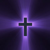Holy cross purple light flare. Isolated spiritual cross with powerful purple light halo. Extended flares for cropping Stock Image