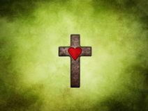 Holy cross with red heart stock illustration
