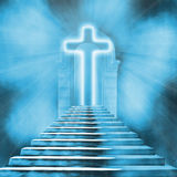 Holy cross and staircase leading to heaven or hell Stock Photos