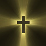 Holy cross symbol sun light flare. Isolated spiritual cross illustrated with powerful sunlight halo. Extended flares for cropping Royalty Free Stock Photo