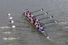 Holy Cross University races in the Head of Charles Regatta Royalty Free Stock Photo
