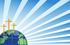 Holy crosses in top of the earth. Illustration isolated over white Royalty Free Stock Photos