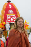 Holy dancer dancing in front of the chariot during the 37th Annual Festival of the Chariots Royalty Free Stock Photography
