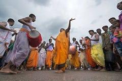 Holy devotees celebrating rathayatra festival at puri