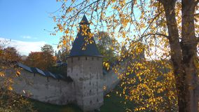 Holy Dormition Pskovo-Pechersky monastery, Golden autumn. Pechora, Russia stock video