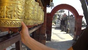 Holy drums in the Monkey Temple. Nepal stock video