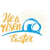 Holy Easter holiday religious calligraphic text , cross symbol of Christianity hand drawn vector illustration sketch Stock Image