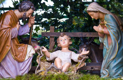 Holy Family. Statues of the Holy Family in a crib royalty free stock images