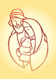 Holy Family. Hand drawn sketch of the Blessed Family with newborn Jesus Stock Image