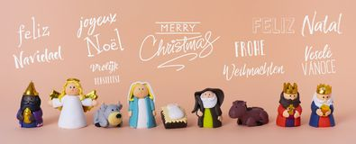 Nativity scene and text merry christmas royalty free stock image