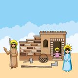 Holy family christian cartoons. Holy family joseph may and baby jesus in home christian cartoons vector digital illustration image stock illustration