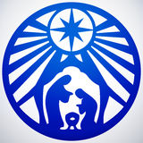 Holy family Christian silhouette icon  illustration on whi. Te background. Scene of the Holy Bible Royalty Free Stock Images