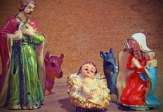 HOLY Family Christmas with doneky and ox Stock Image