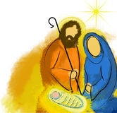 Holy family Christmas nativity abstract. Watercolor illustration Mary Joseph and Jesus Stock Image