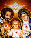 The Holy Family. Christmas theme: The Holy Family and the Holy Spirit. Printed at the beginning of the 20th cent. in Germany. Picture is from unknown author royalty free stock image