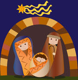 Holy family christmas vector. Illustration of christmas night: nativity of jesus with the holy family. Vector Royalty Free Stock Images