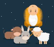Holy family design. Baby jesus cartoon of holy family theme Vector illustration Royalty Free Stock Images