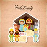Holy family design. Holy family manger scene with animals and the three wise men. merry christmas colorful design. vector illustration Royalty Free Stock Photography