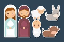 Holy family design. Mary joseph and baby jesus of holy family theme Vector illustration Stock Images