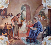 Holy Family. Fresco. SEBECHLEBY - AUGUS 8: Holy Family. Fresco from year 1963 by Jozef Antal in st. Michael parish church on August 8, 2013 in Sebechleby Royalty Free Stock Photography