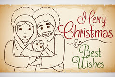 Holy Family in Hand Drawn Style in Scroll for Christmas, Vector Illustration Stock Photography
