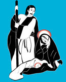 Holy family nativity vector royalty free stock photography
