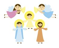 Holy Family of Nazareth. With angels, card. vector Royalty Free Stock Images